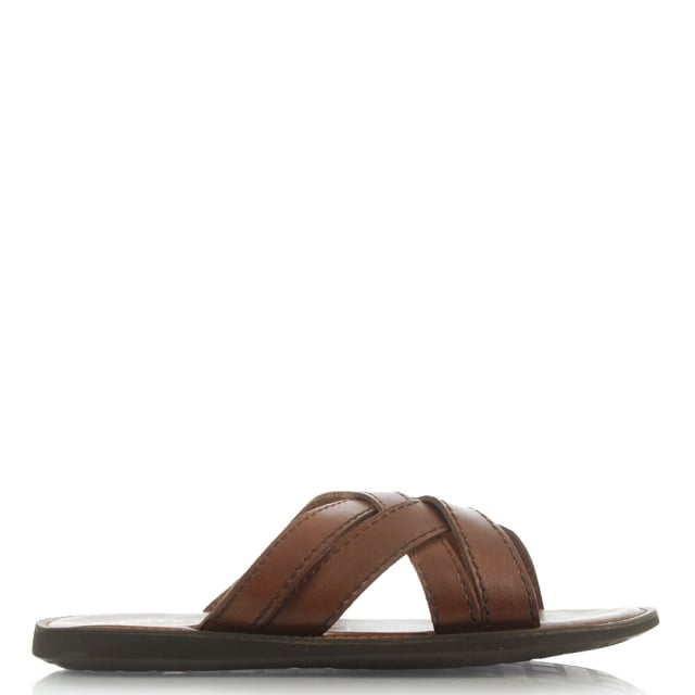 Barnstaple Brown Leather Criss Cross Mule Sandal