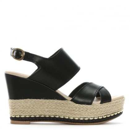 Baros Black Leather Strappy Wedge Espadrilles