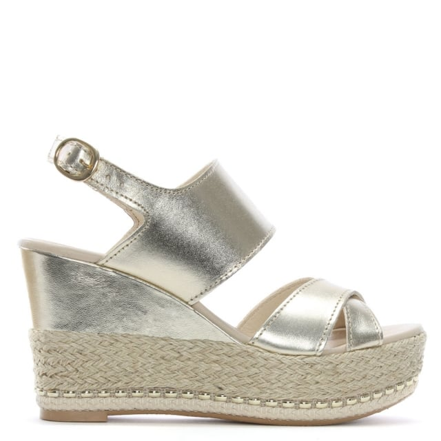 Baros Gold Leather Strappy Wedge Espadrilles