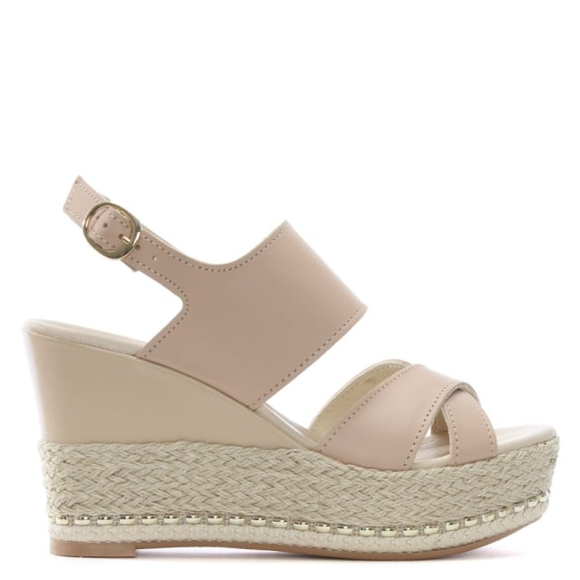 Daniel Baros Nude Leather Strappy Wedge Espadrilles