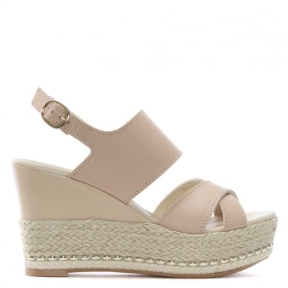 Baros Nude Leather Strappy Wedge Espadrilles