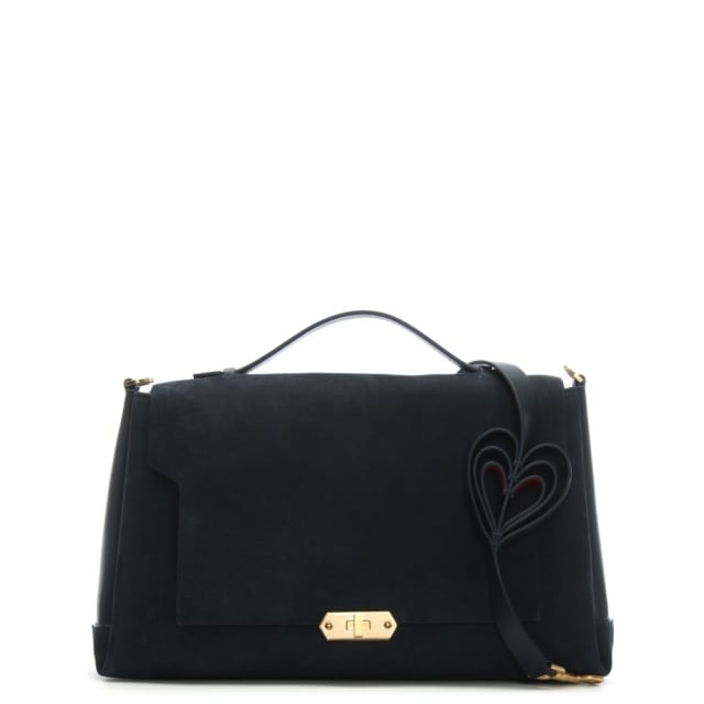 Bathurst Navy Suede Soft Heart Large Satchel Bag