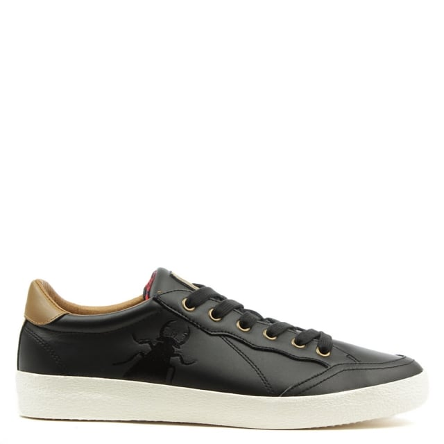 Bato Black Leather Lace Up Trainer