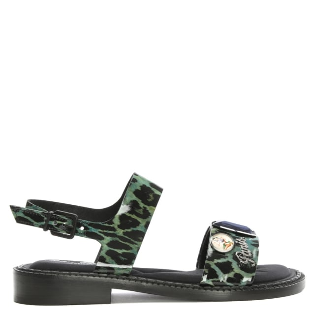 Robert Clergerie Baume Leopard Print Leather Jewelled Sandal