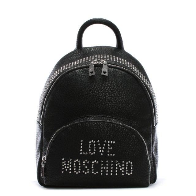 e634d4ed03 Love Moschino Bavarian Black Studded Logo Backpack