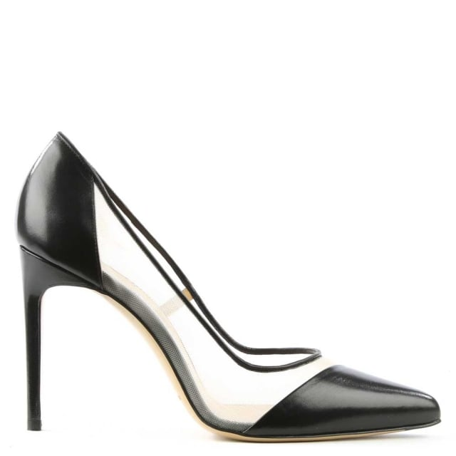 Bay Black Leather Mesh Insert Court Shoe