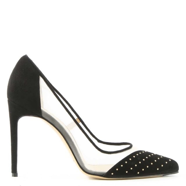Bay Black Suede Mesh Insert Studded Court Shoe