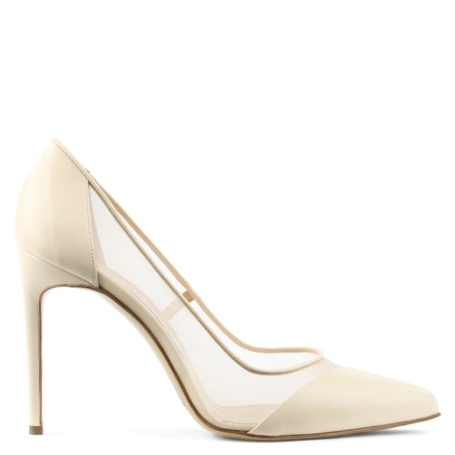 Bay Nude Leather Mesh Insert Court Shoe