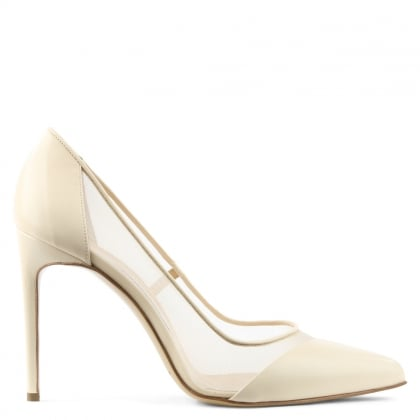 Bionda Castana Bay Nude Leather Mesh Insert Court Shoe