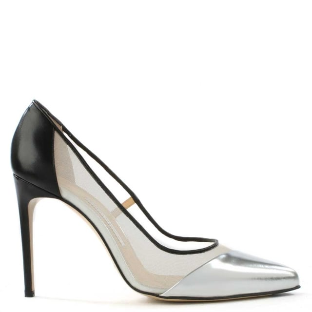 Bay Silver & Black Leather Mesh Insert Court Shoe