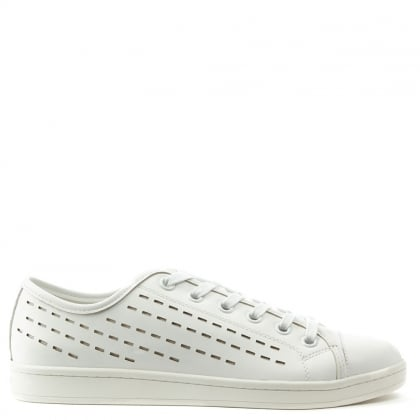 Baylee White Leather Pinstripe Laser Cut Lace Up Trainer