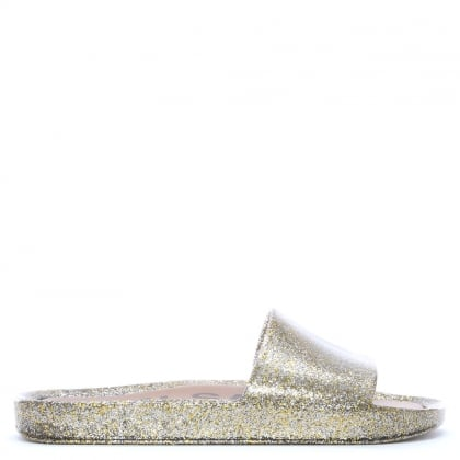 Beach Shine Gold Glitter Sliders