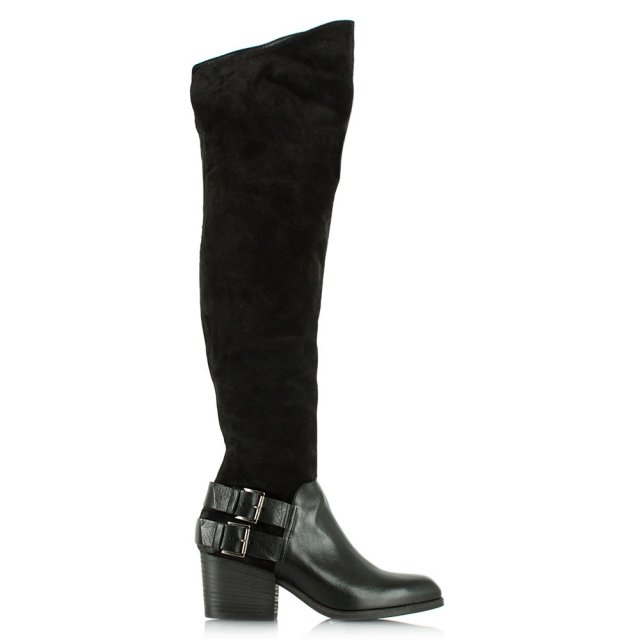 Beatton Black Suede Buckled Over The Knee Boot
