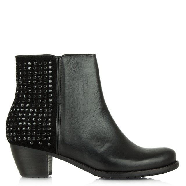 Beavoir Black Suede Embellished Ankle Boot