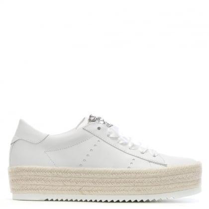 Becker White Leather Flatform Espadrilles