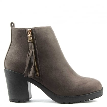 Beckside Grey Tassel Ankle Boot