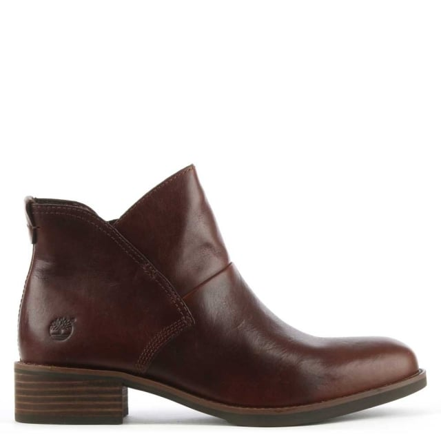 Beckwith Brown Leather Shaped Ankle Boot