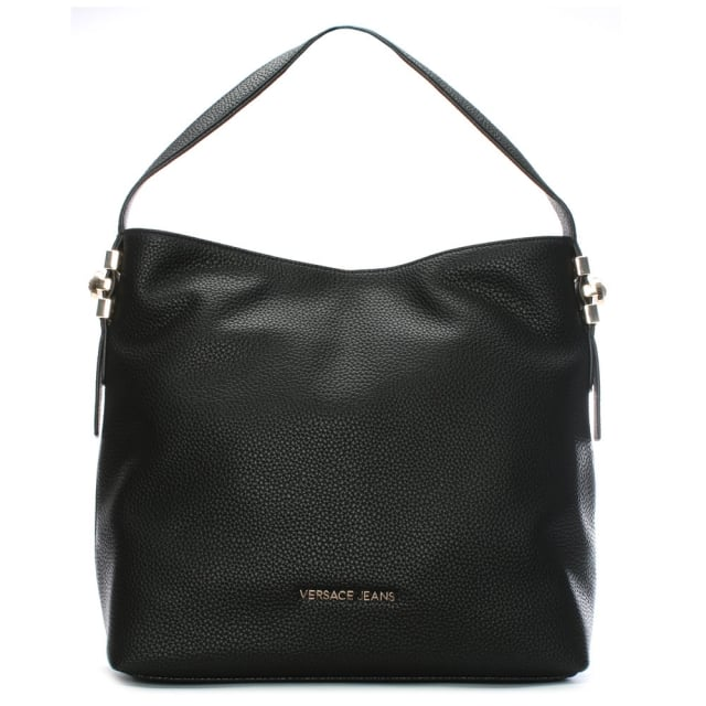 Becky Black Pebbled Hobo Bag