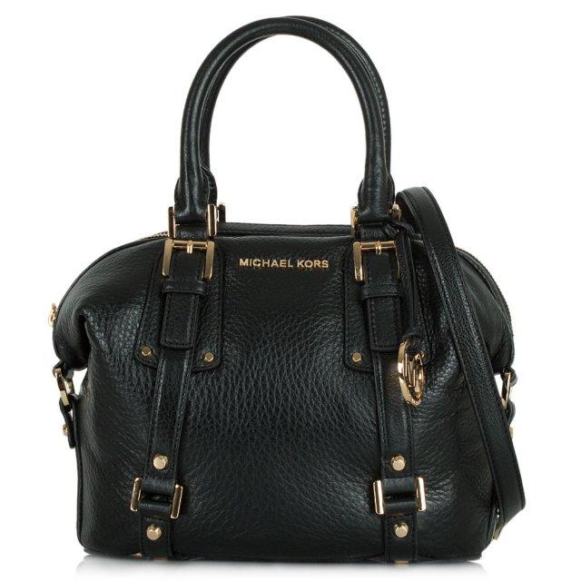 de37510bbea6d Michael Kors Bedford Belted Satchel Black Textured Leather Bag
