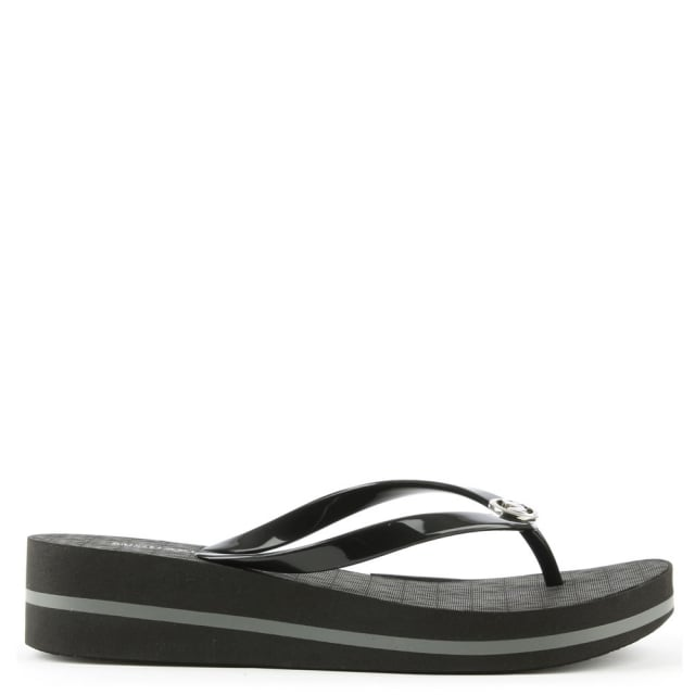 b568c047e40e4d Michael Kors Bedford Black Toe Post Wedge Flip Flop