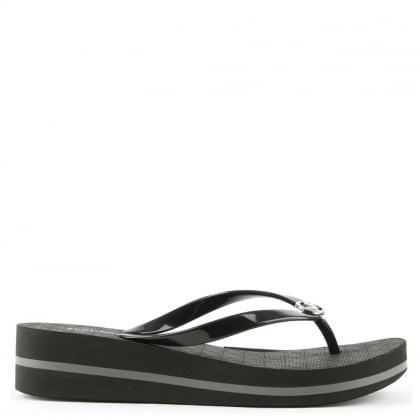 Bedford Black Toe Post Wedge Flip Flop