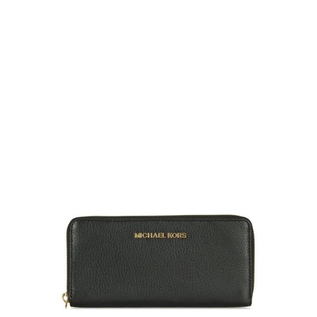 Bedford Continental Black Leather Zip Around Wallet