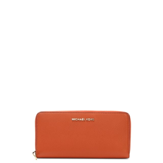 Bedford Continental Orange Leather Zip Around Wallet
