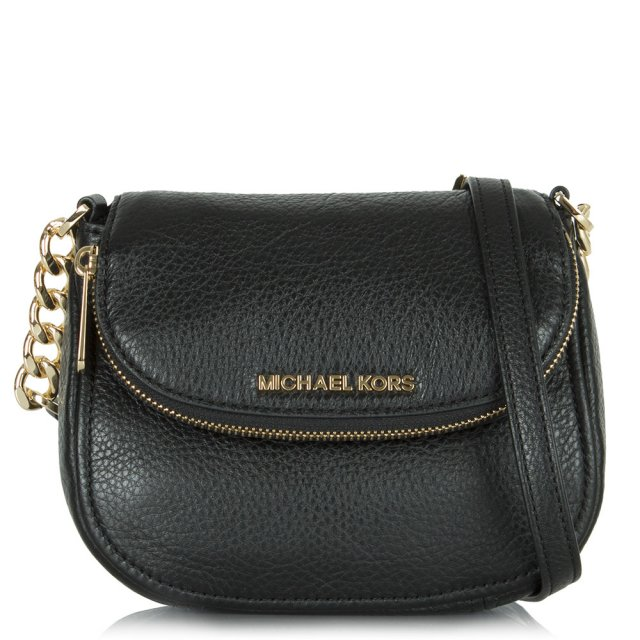 531a17e19a22 Michael Kors Black Leather Bedford Flap Crossbody Bag