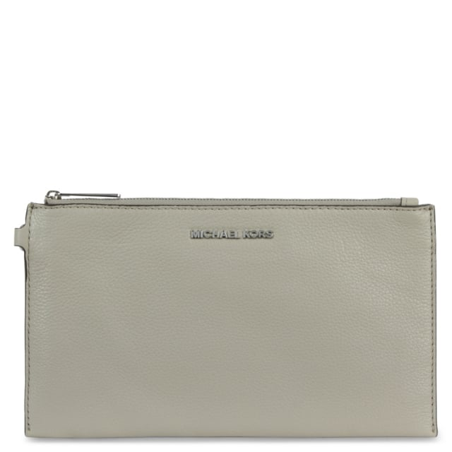 Bedford Large Cement Leather Top Zip Clutch