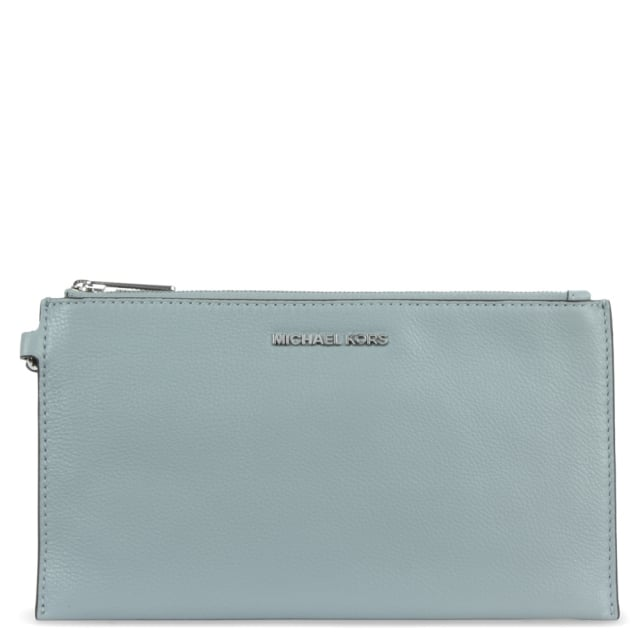 Bedford Large Dusty Blue Leather Top Zip Clutch