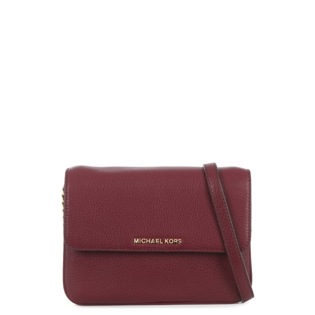 Bedford Plum Leather Flap Gusset Cross-Body Bag
