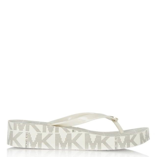 53207da45b8 Michael Kors Bedford White Logo Toe Post Platform Flip Flop