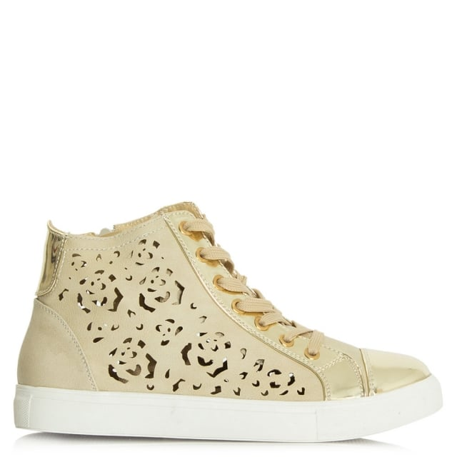 Bedlam Gold Laser Cut Metallic Contrast High Top