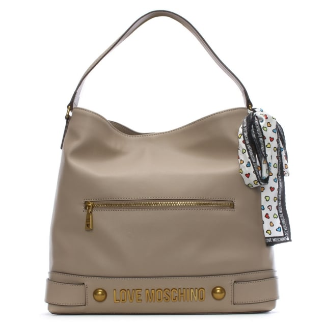Love Moschino Bee Taupe Slouchy Shoulder Bag