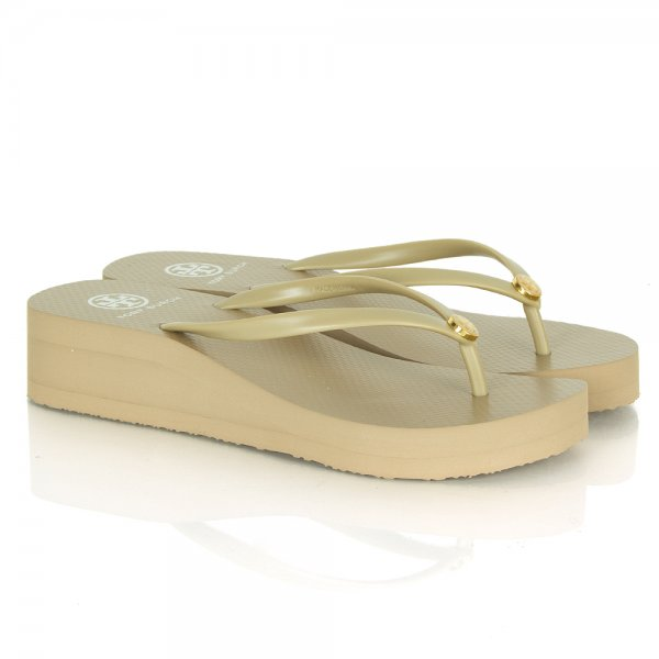 6a67baf59bf Tory Burch Beige 50008673 Women s Wedge Flip Flop