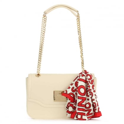 Beige Flapover Chain Handle & Scarf Shoulder Bag