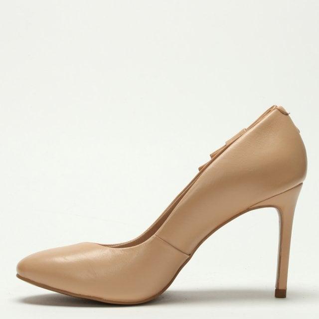 0687b3e7e88 Raphaella Booz Beige Leather Bow Court Shoes