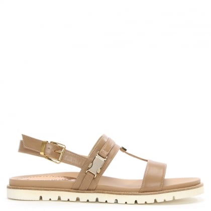 Beige Leather Sling Back Sandal
