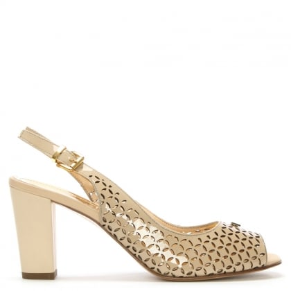 Beige Patent Leather Laser Cut Sling Back Sandal