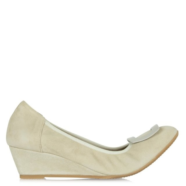 Beige Suede Buckle Wedge Shoe
