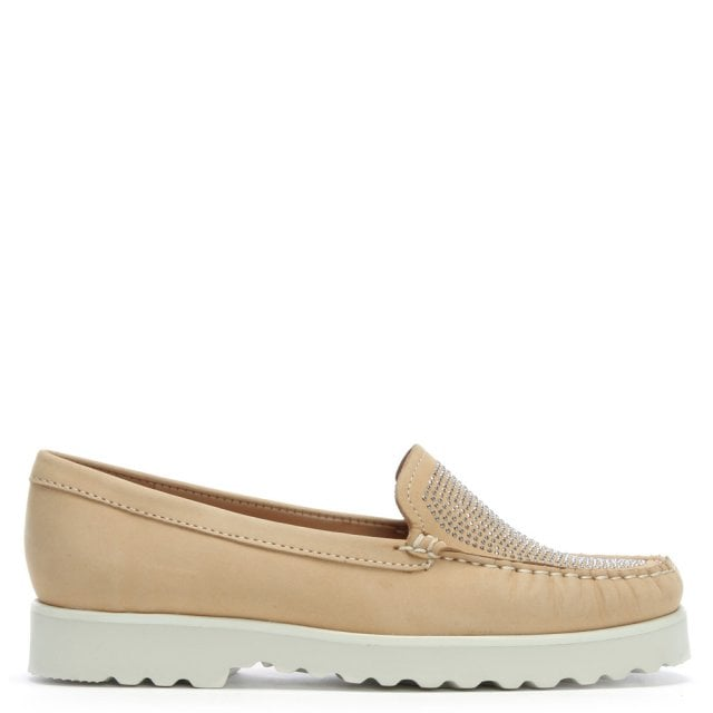 Beige Suede Embellished Loafers