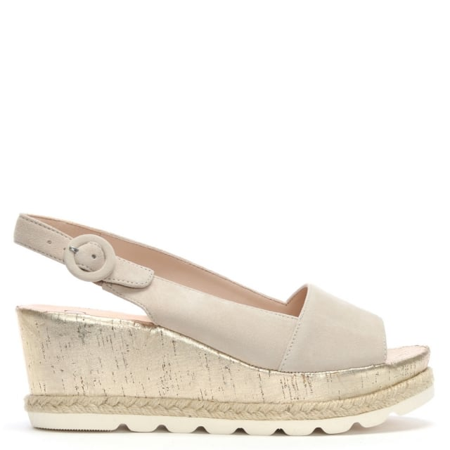 Beige Suede Low Cork Wedge Sandals