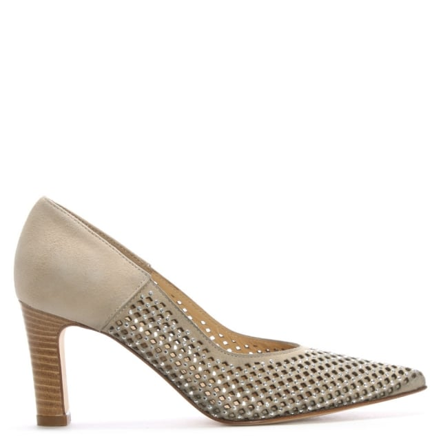 Beige Suede Perforated Diamante Court Shoes