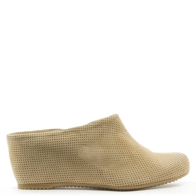 Beige Suede Perforated Wedge Closed Toe Mule