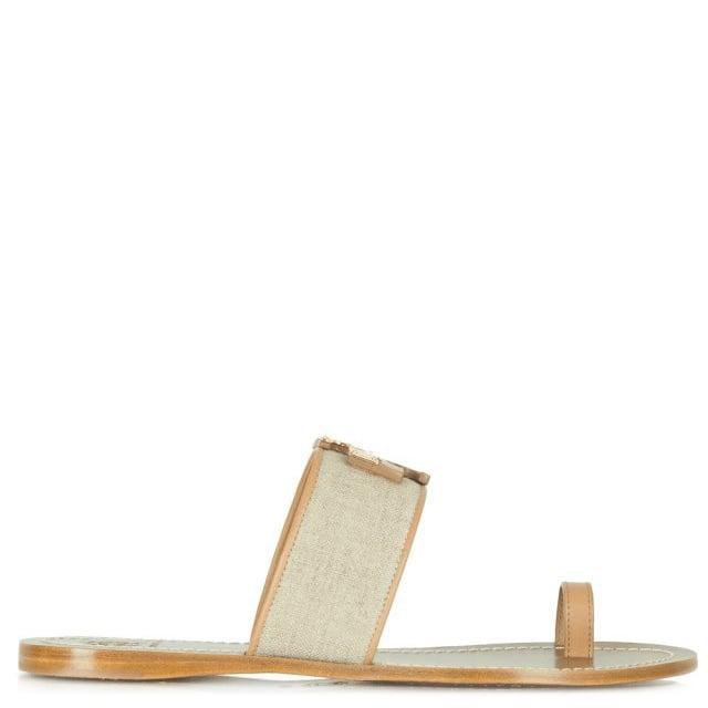 e9b5cc86e Tory Burch Beige TB Lowell Flat Toe Sandal