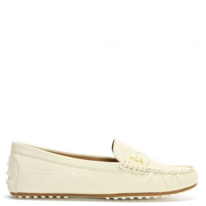 Belen White Leather Driver Loafer