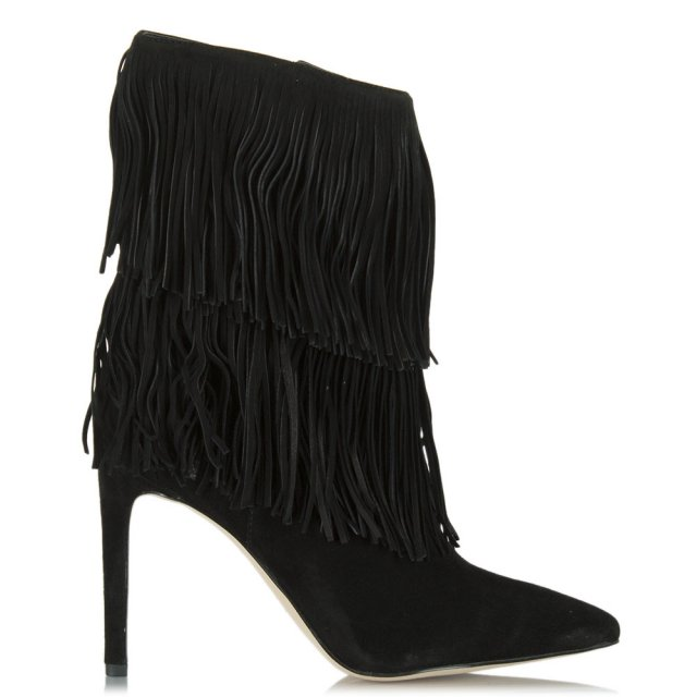 b70292971 Sam Edelman Black Suede Belinda Fringed Ankle Boot
