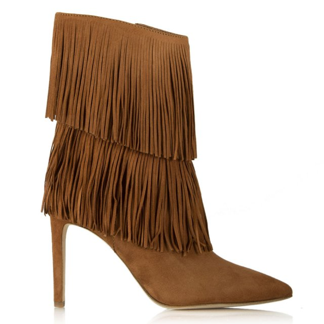 Belinda Tan Suede Fringed Ankle Boot