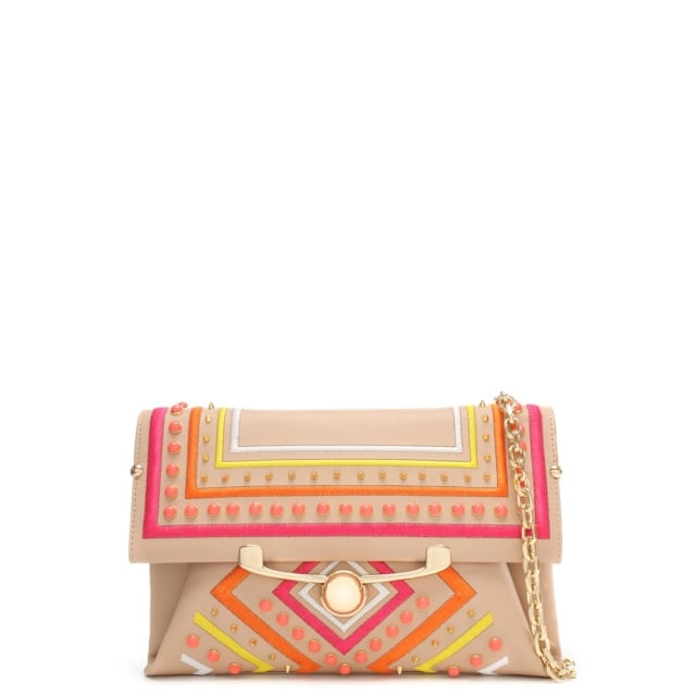 Bella Beige Leather Aztec Studded Clutch Bag