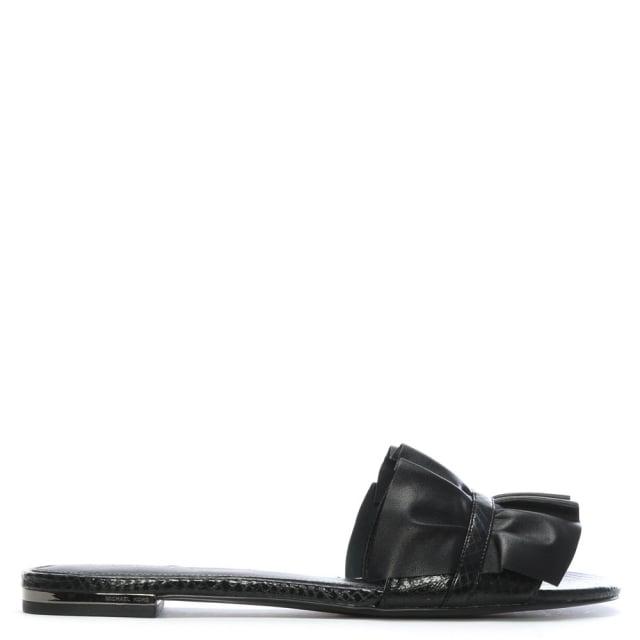 3cc4e643810 Michael Kors Bella Black Leather Ruffle Mules